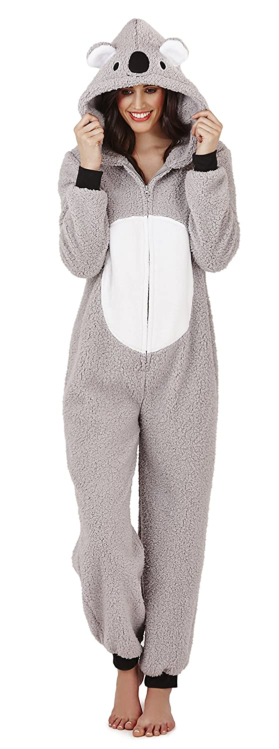 Ladies Womens Snug Onesie Adult All in One Fleece Zip Jumpsuit Pyjamas Nightwear