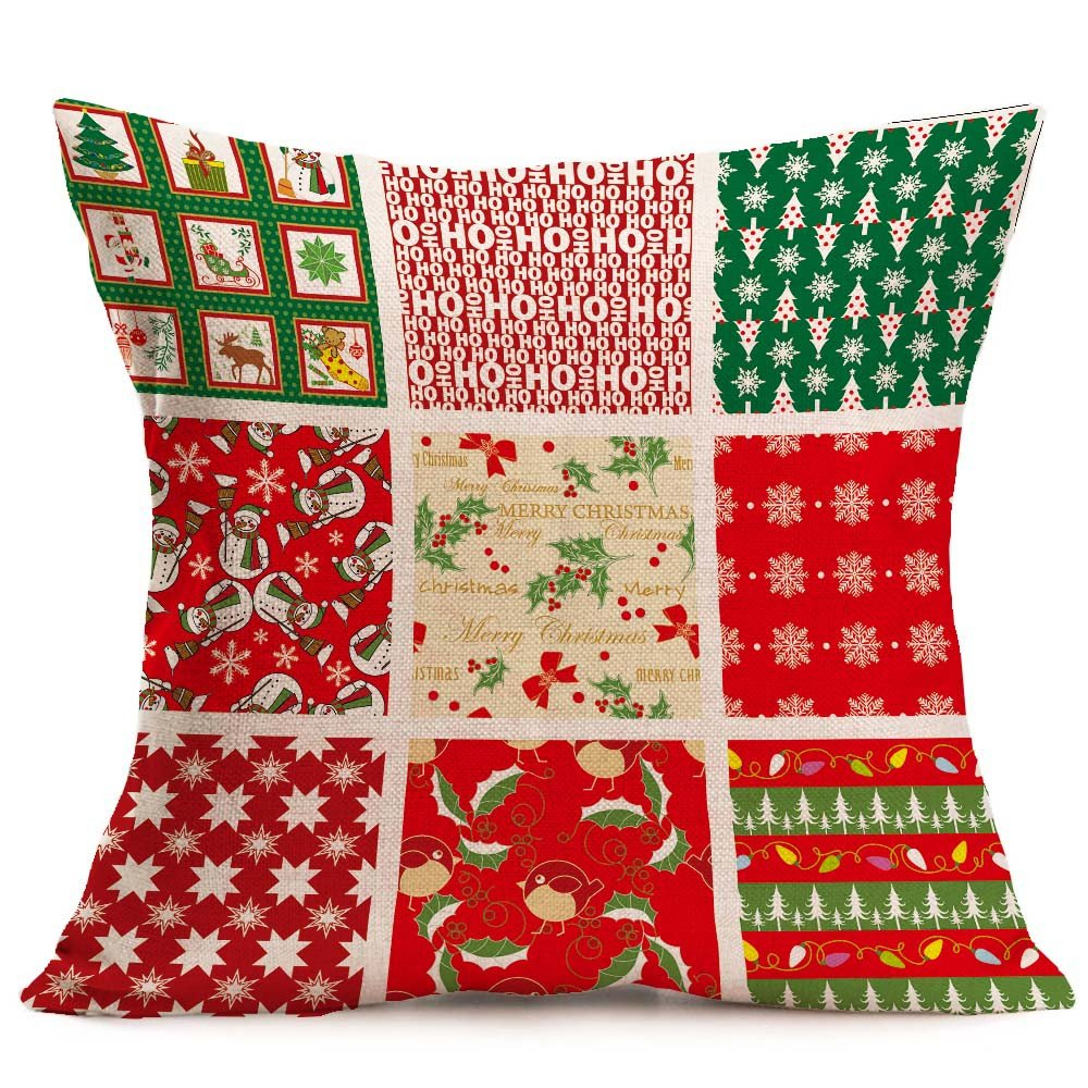 Merry Christmas Pgojuni Linen Pillowcase Decoration Accent Throw Pillow Cover Cushion Cover for Couch/Sofa 1pc 45X45 cm (I)