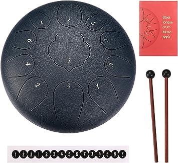 Tamburo In Acciaio 12 Pollici 11-Tone Tamburo A Mano Acciaio Strumento A Percussione con Hang Drum Mallets Carry Bag Note Sticks per Meditazione Yoga Zazen Guarigione Sana,Red