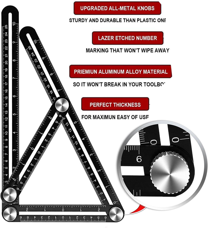 Mesure de quatre-verso en alliage d/'aluminium modèle réglable multi-angle outil règle