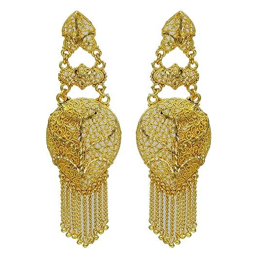 Banithani Traditional Ethnic Indian Goldplated Jhumka Earring Set Women Wedding Jewellery VdblKc
