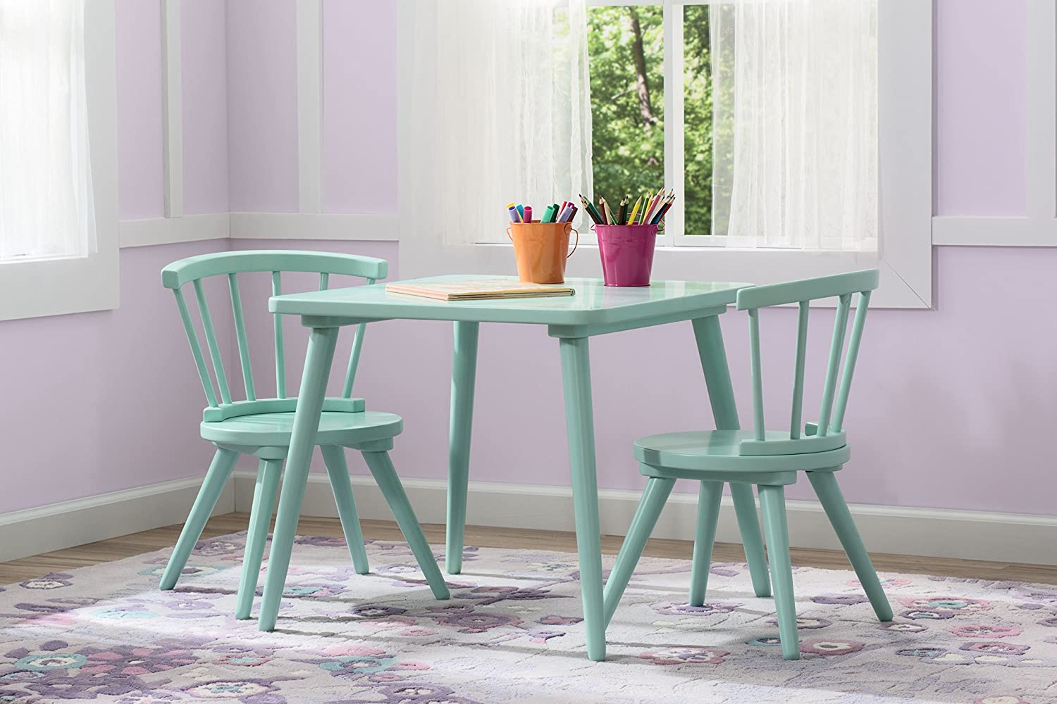 & Amazon.com: Delta Children Windsor Table \u0026 2 Chair Set Aqua: Baby