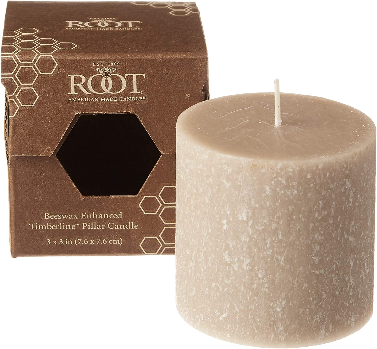 Amazon Com Root Candles 33345 Unscented Timberline Pillar Candle 3 X 3 Inches Taupe Home Kitchen