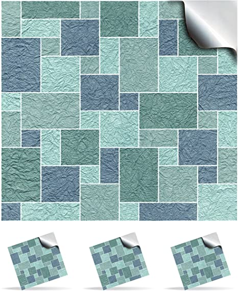 2 Duck Egg Blue Flat Printed Kitchen Bathroom Tile Stickers For - Blue-bathroom-tile-stickers
