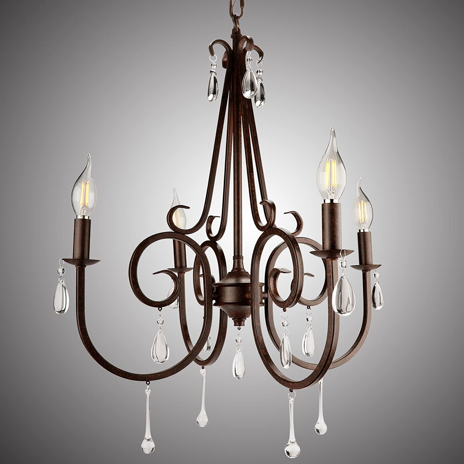 Rustic chandelier for dinning room clear crystal beads farmhouse candle chandelier4 light rustic wrought iron light fixtures for dinning living room