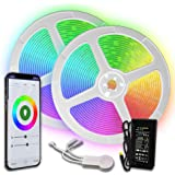 TBI Pro Upgraded 2019 LED Strip Lights Kit, Light, 2-Pack x 5M w/Extra Adhesive 3M Tape 32.8ft 300LEDs SMD 5050 RGB 44 Key Remote Controller, Flexible Changing Multi-Color for TV, Room
