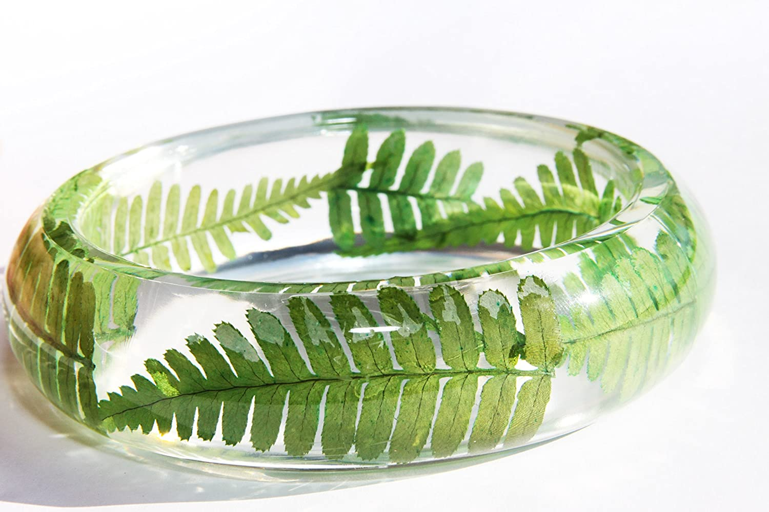 50s Jewelry: Earrings, Necklace, Brooch, Bracelet Handmade Real dried leaf Botanical Garden Resin Bangle Bracelet.{G-12}Size 68mmheight 23mm. Free USA shipping. $23.55 AT vintagedancer.com