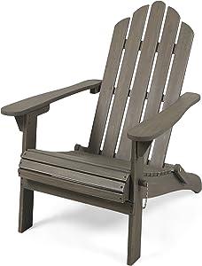 Cara Outdoor Foldable Acacia Wood Adirondack Chair, Gray Finish