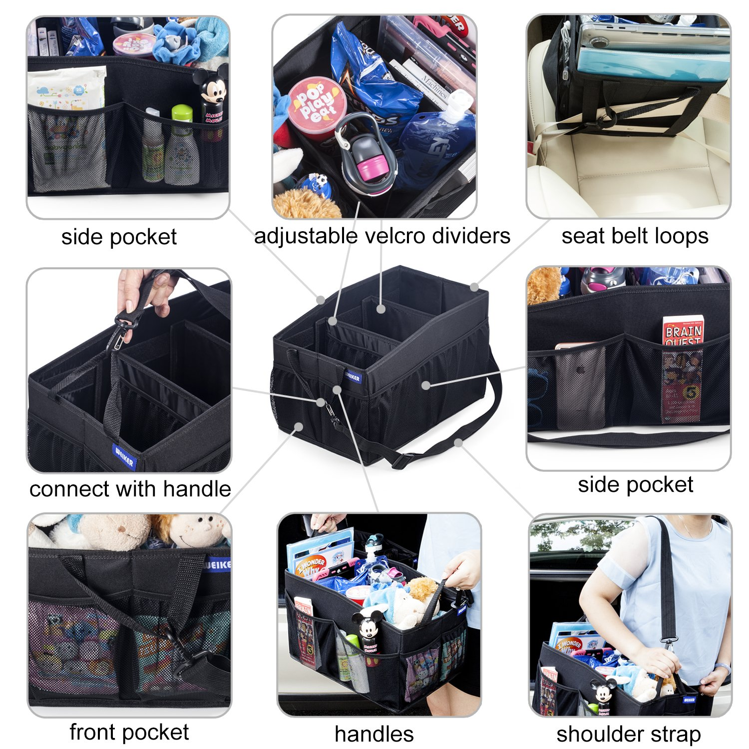 Car Seat Storage Organizer - Travel Accessories Portable Collapsible ...