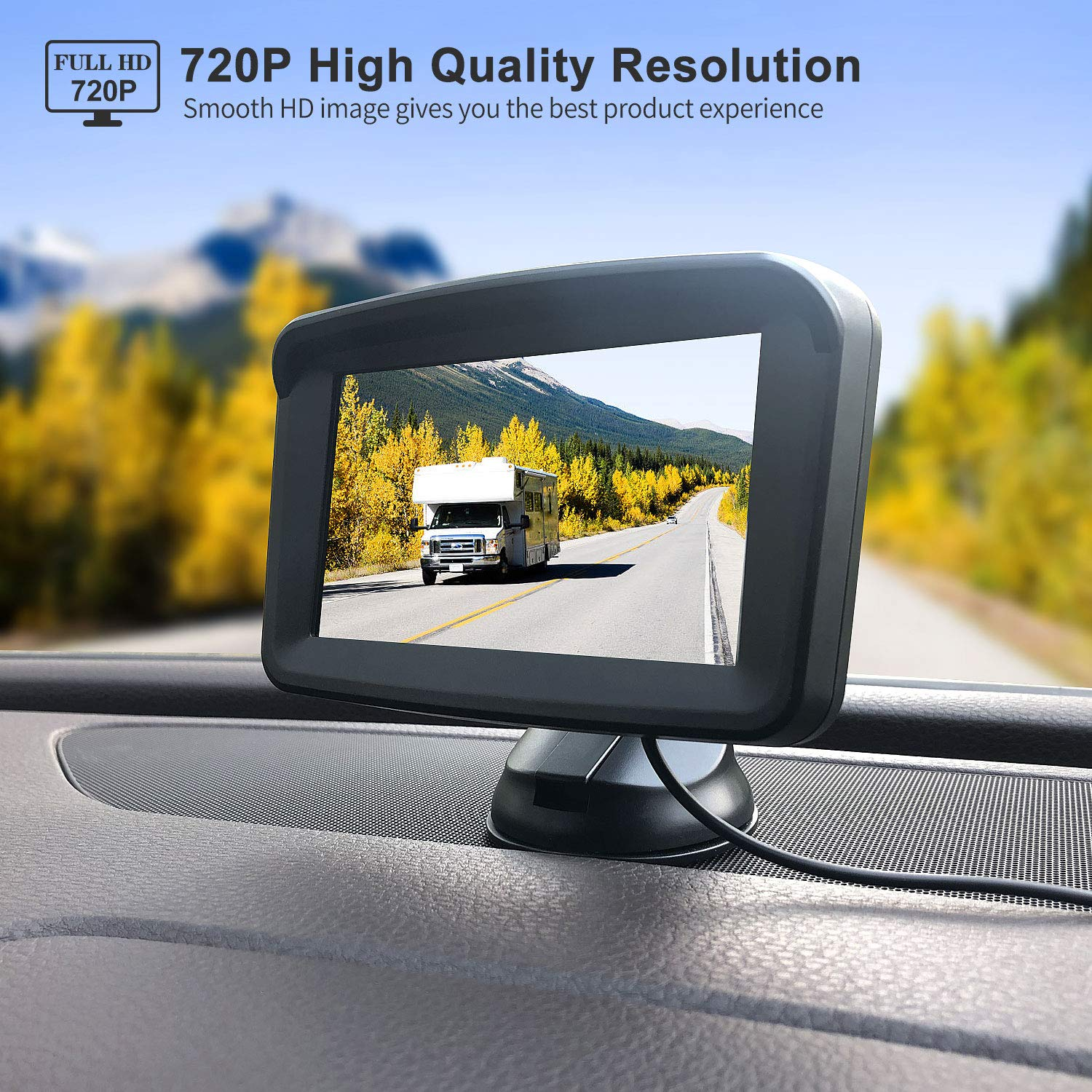 Backup Camera with Monitor License Plate Mounted Digital Reversing observation Camera Night Vision Waterproof Rear View for 5'' LCD Monitor be Used for Safety Driving of Vans,Trucks,Camping Cars,RVs,et by Xroose (Image #3)