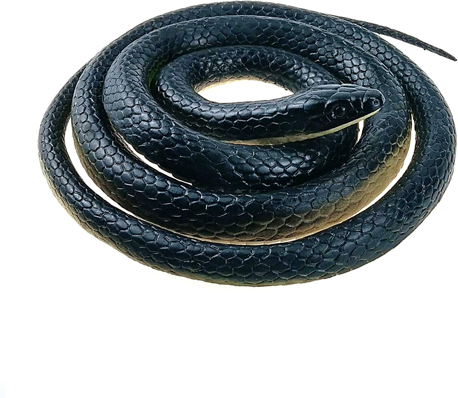 Nakimo Realistic Rubber Fake Snake Toy 50 Inch Mamba for Garden Props and Practical Joke