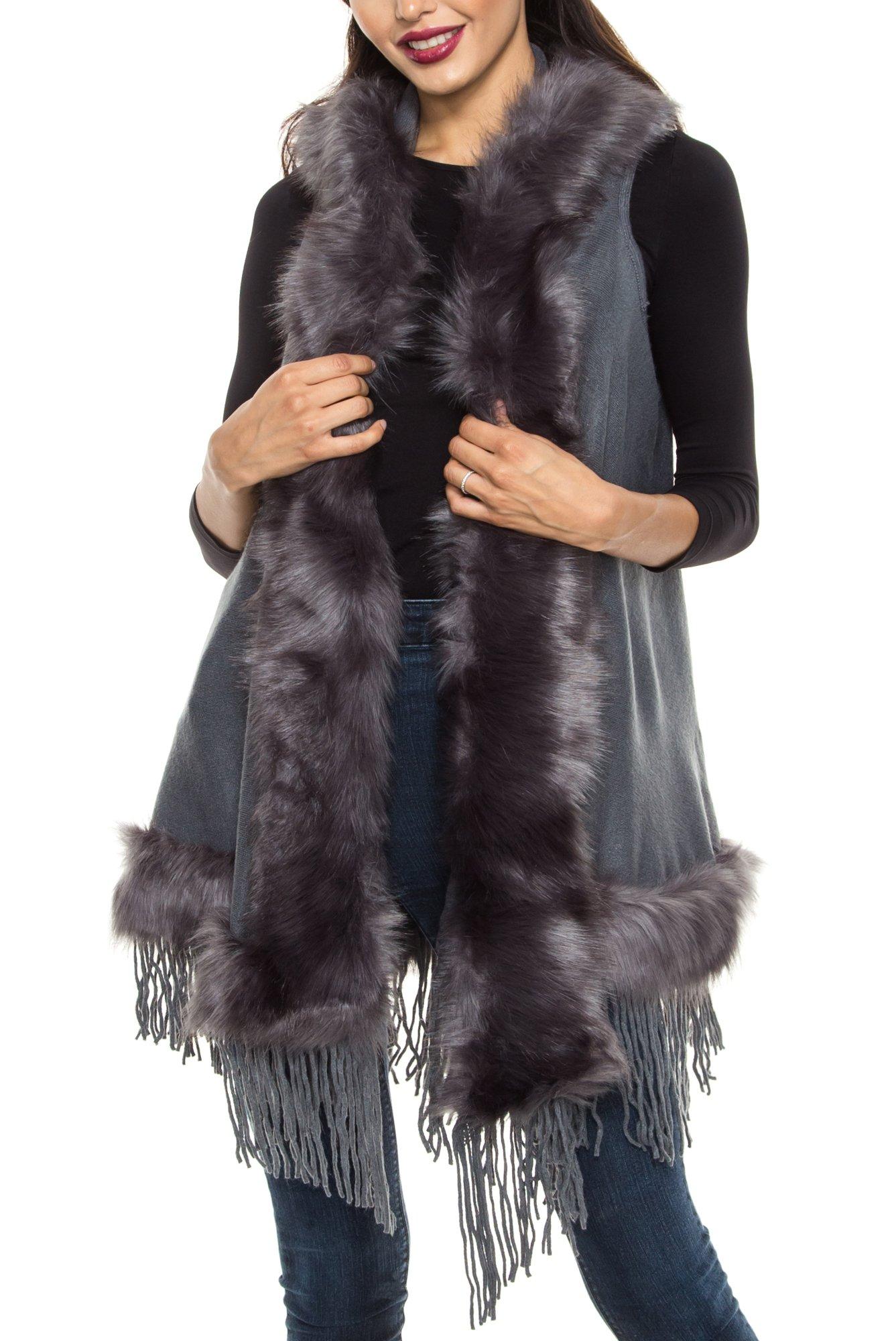 KAYLYN KAYDEN KLKD B002 Women's Faux Fur Hooded Open Front VestCardigan Grey One Size