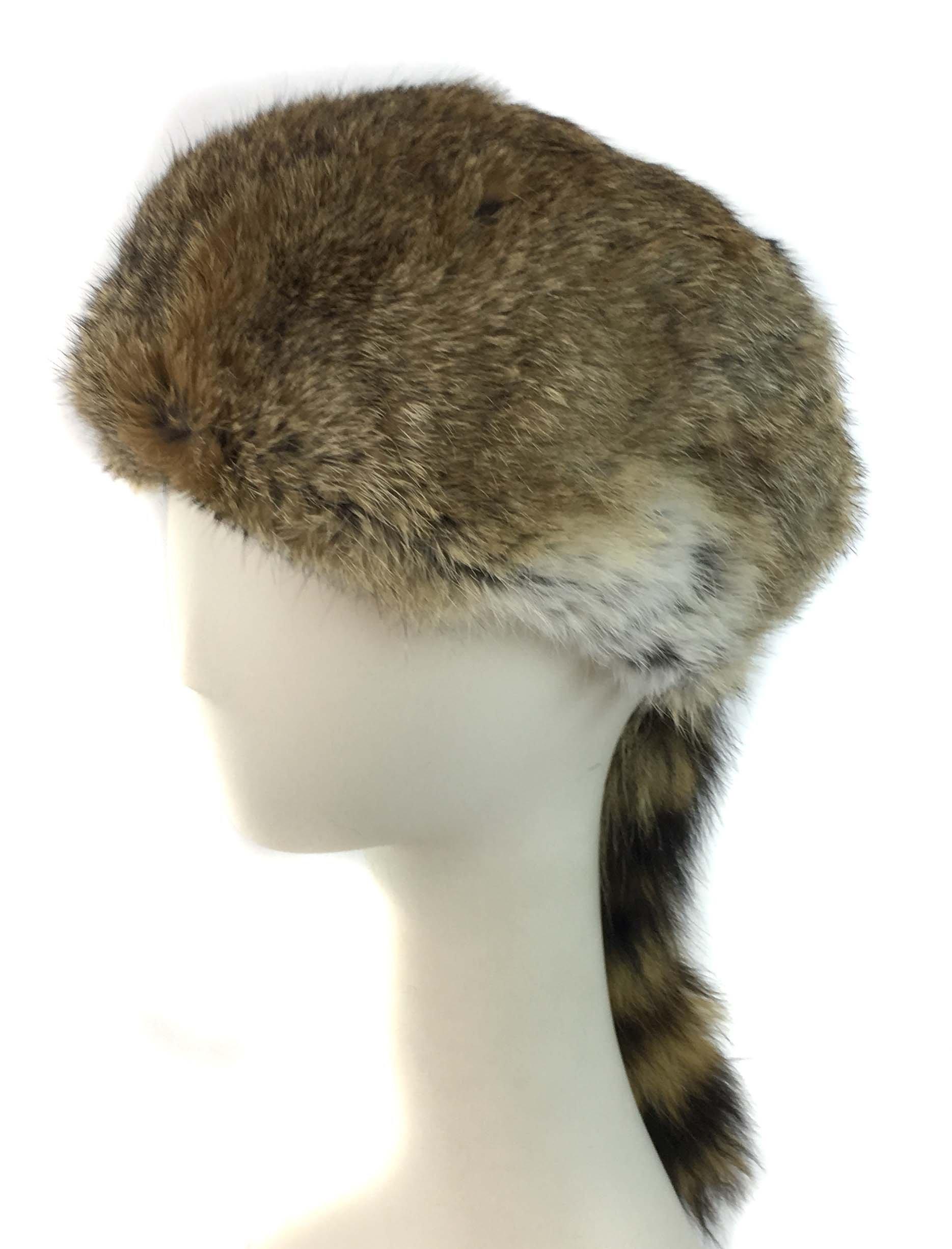 Surell Coonskin Davy Crockett Hat - Rabbit Fur Crown - Raccoon Tail Hat