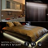 Motion Activated Bed Strip Lights,USB or Battery Powered Flexible Body Sensor LED Strip Night Light Warm White with Automatic Shut Off Timer for Bedroom Cabinet Stairs/Bonus:5V 2A US Plug/Battery box