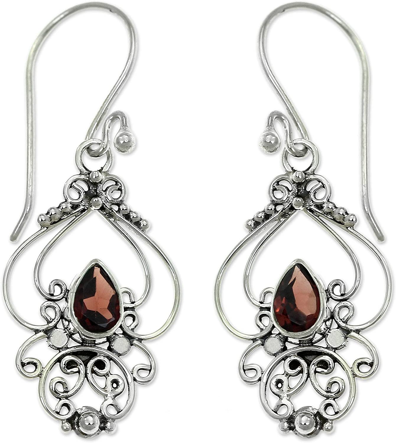 B01F84JRAQ NOVICA Garnet .925 Sterling Silver Dangle Earrings 'Crimson Arabesque' 814yLKID2BaL