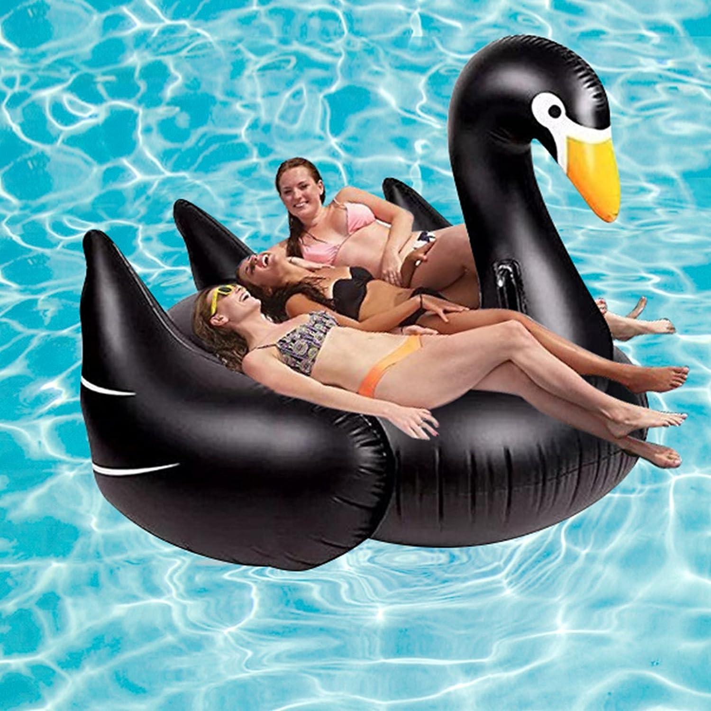 schwarz gro/ß Eurotrade W HW2001423 Kinder//Kids//Erwachsene fahrbare Liege Fahrt auf Schwan Vogel aufblasbare Schwimmer Spielzeug