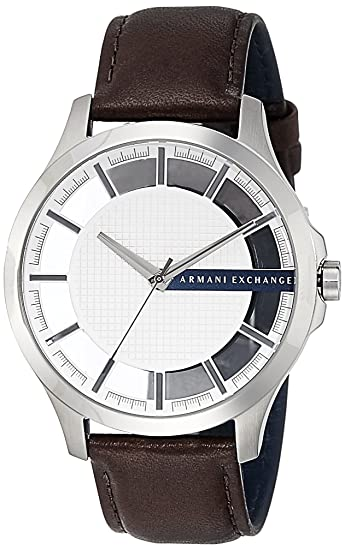 4c7411e3a Armani Exchange Men s  Smart  Quartz Stainless Steel and Leather Automatic  Watch