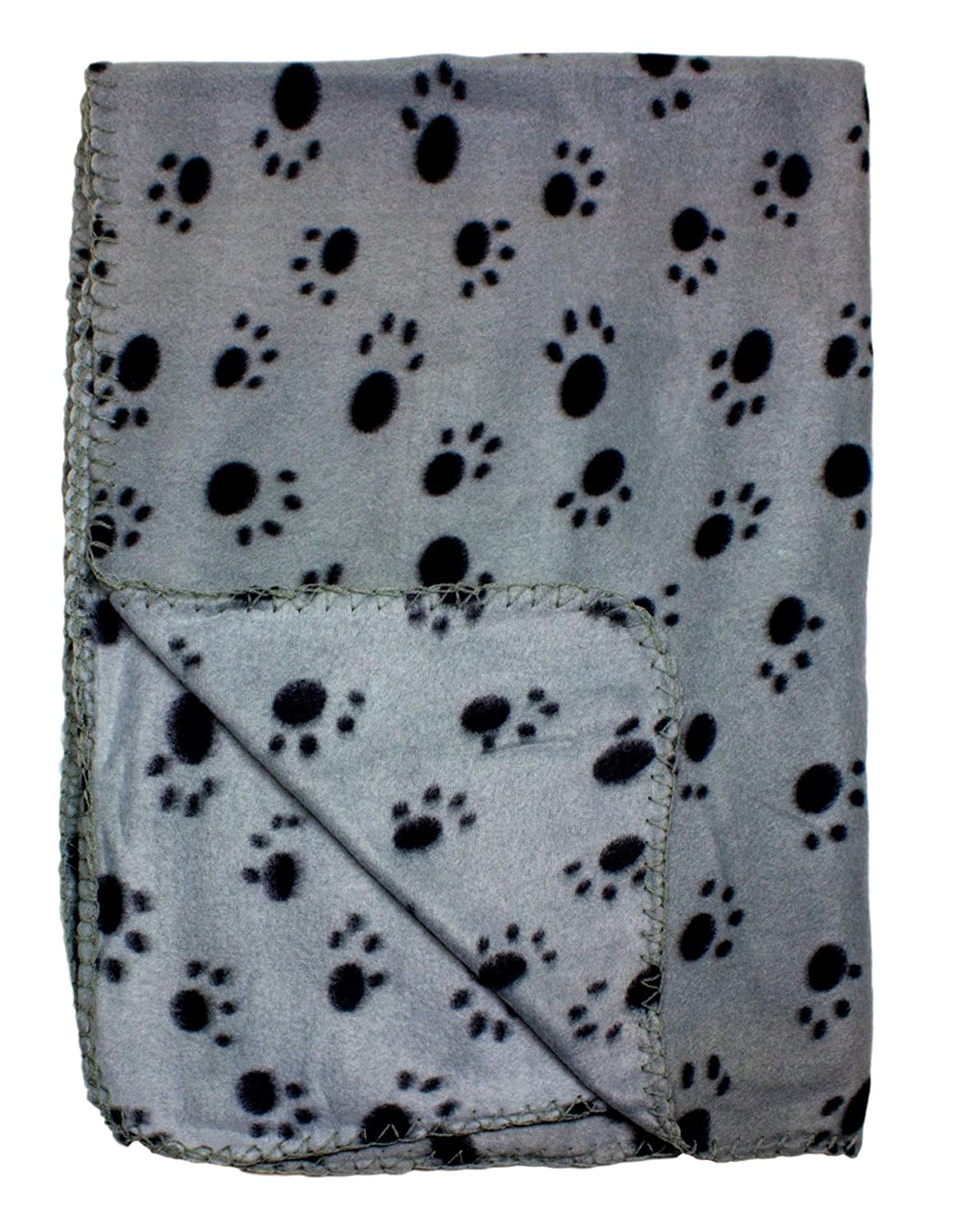 Fleece Pet Blanket/Throw with Paw Print Design 39x27 Inches For Small Animals by bogo Brands