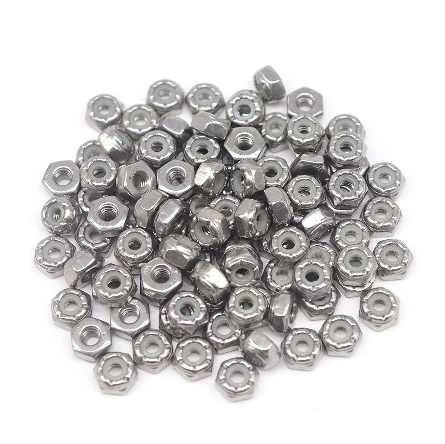 Stainless Steel binifiMux 8-32 Nylock Nylon Inserted Self Locking Nuts 100pcs