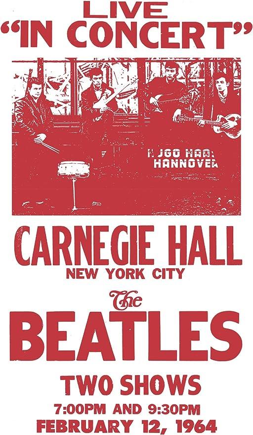 "Home Nostalgia Decor Wall Art Print Per Diem Printing Carnegie Hall The Beatles New York City 13/""x22/"" Vintage Style Showprint Poster Concert Bill"