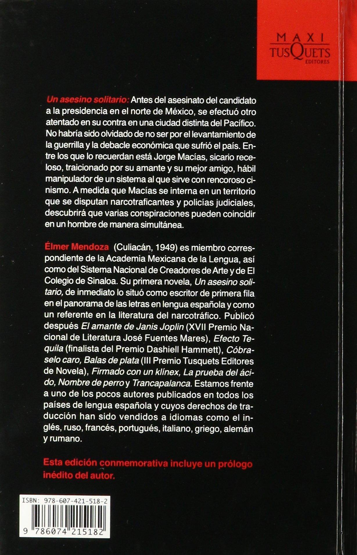 Un Asesino Solitario (spanish Edition): Elmer Mendoza: 9786074215182:  Amazon: Books