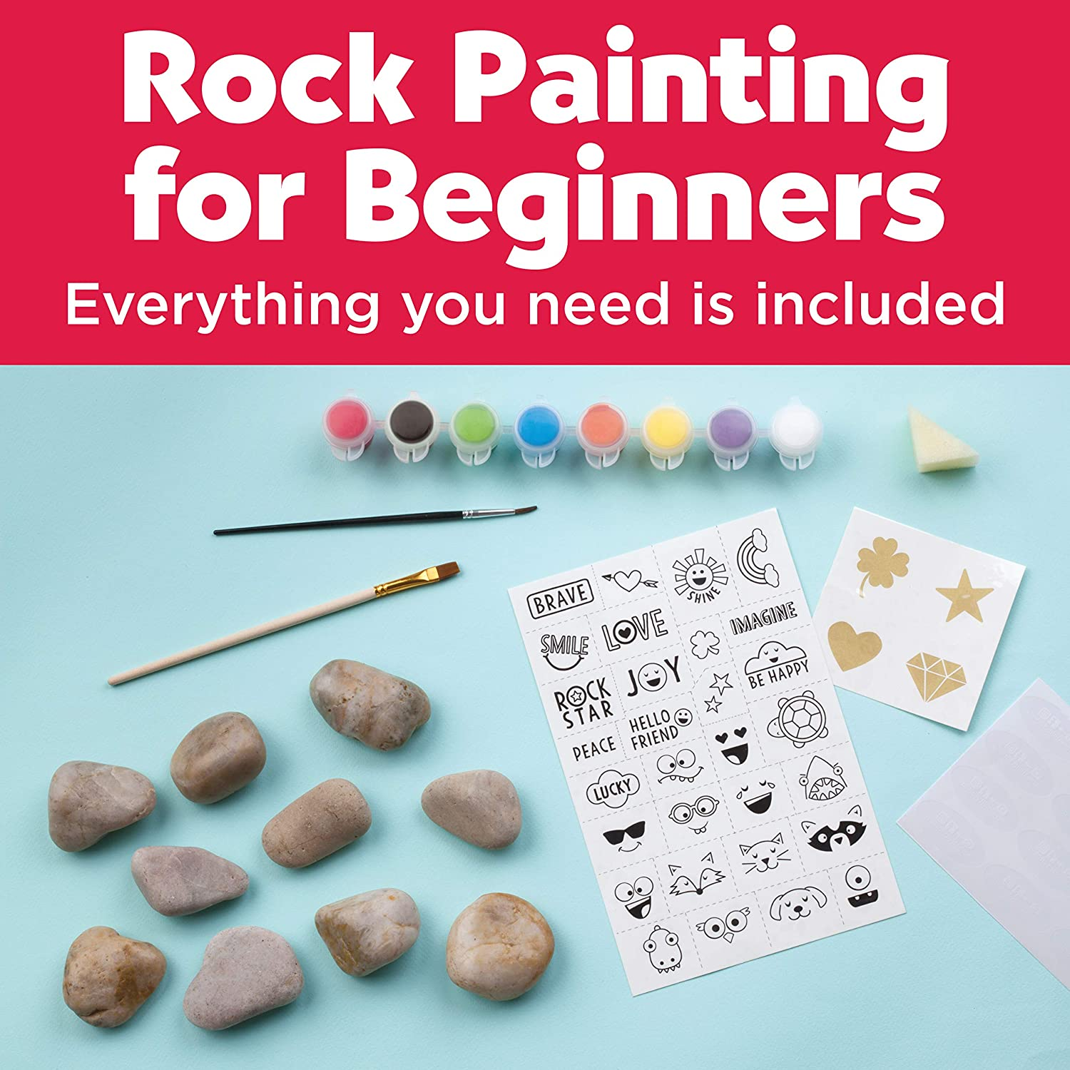 Amazon Com Creativity For Kids Hide Seek Rock Painting Kit Arts Crafts For Kids Includes Rocks Waterproof Paint Toys Games