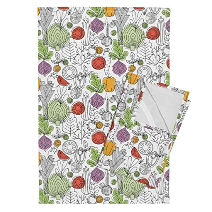 Amazon Com Roostery Vegetables Tea Towels Retro Kitchen Rustic Line