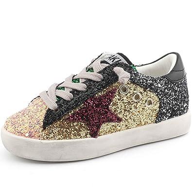 Bakkotie Toddler Baby Glittler Shoe Girl Boy Sequin Star Flat Sneaker (F550-Gold bedf4aa83c32