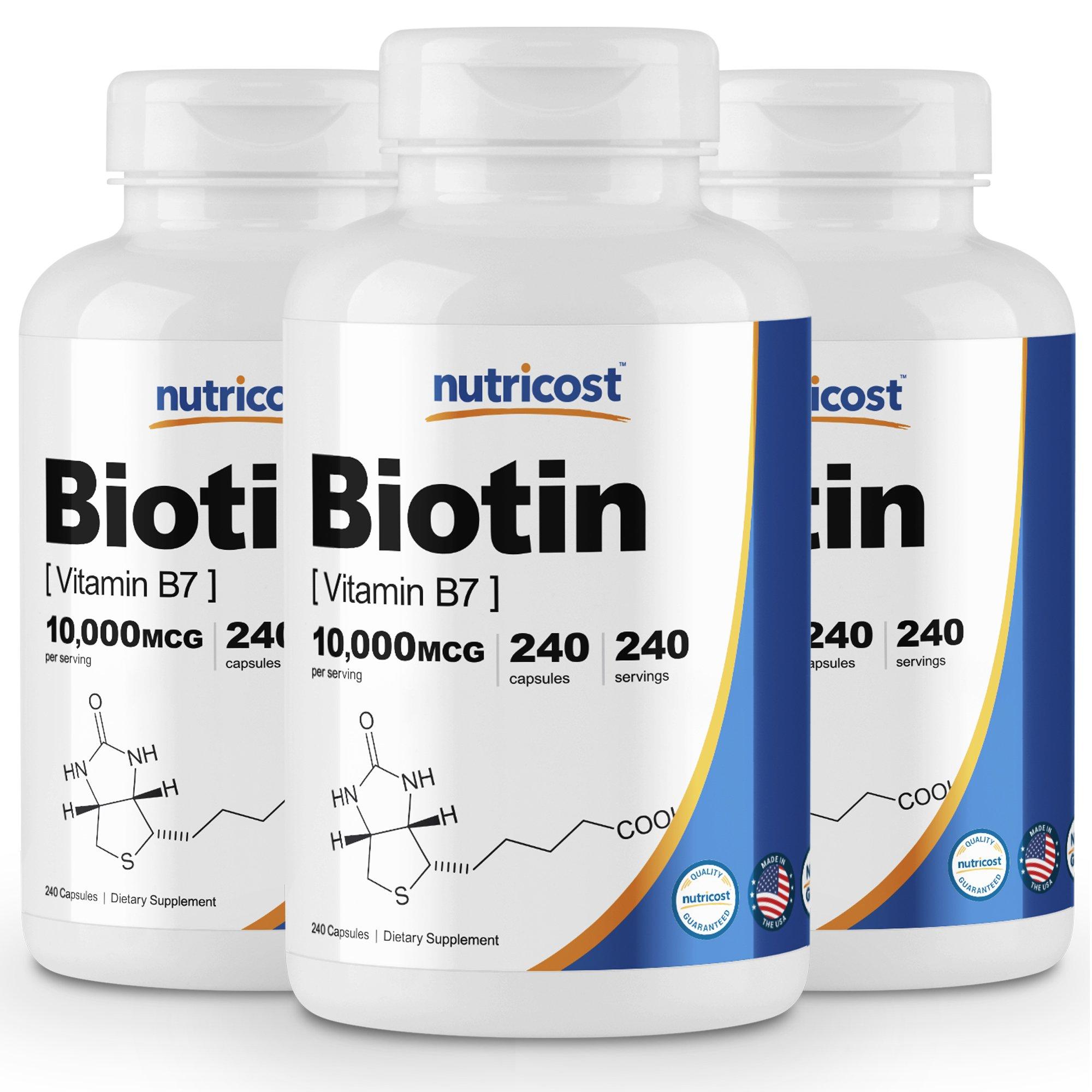 Nutricost Biotin (Vitamin B7) 10,000mcg, 240 Caps (3 Bottles) - Veggie Caps, Non-GMO, Gluten Free