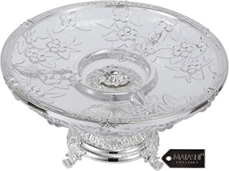 Matashi Crystal 3 Sectional Compote Decorative Bowl Round Serving Platter With Silver Plated Pedestal Base For Weddings Parties Tabletop Stand For Cakes Desserts Salad Candy Kitchen Dining