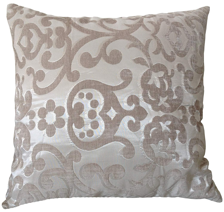 M MOCHOHOME Decorative Modal Jacquard Euro Square Throw Pillow Cover Case Pillowcase Cushion Sham - 22'' x 22'', Beige