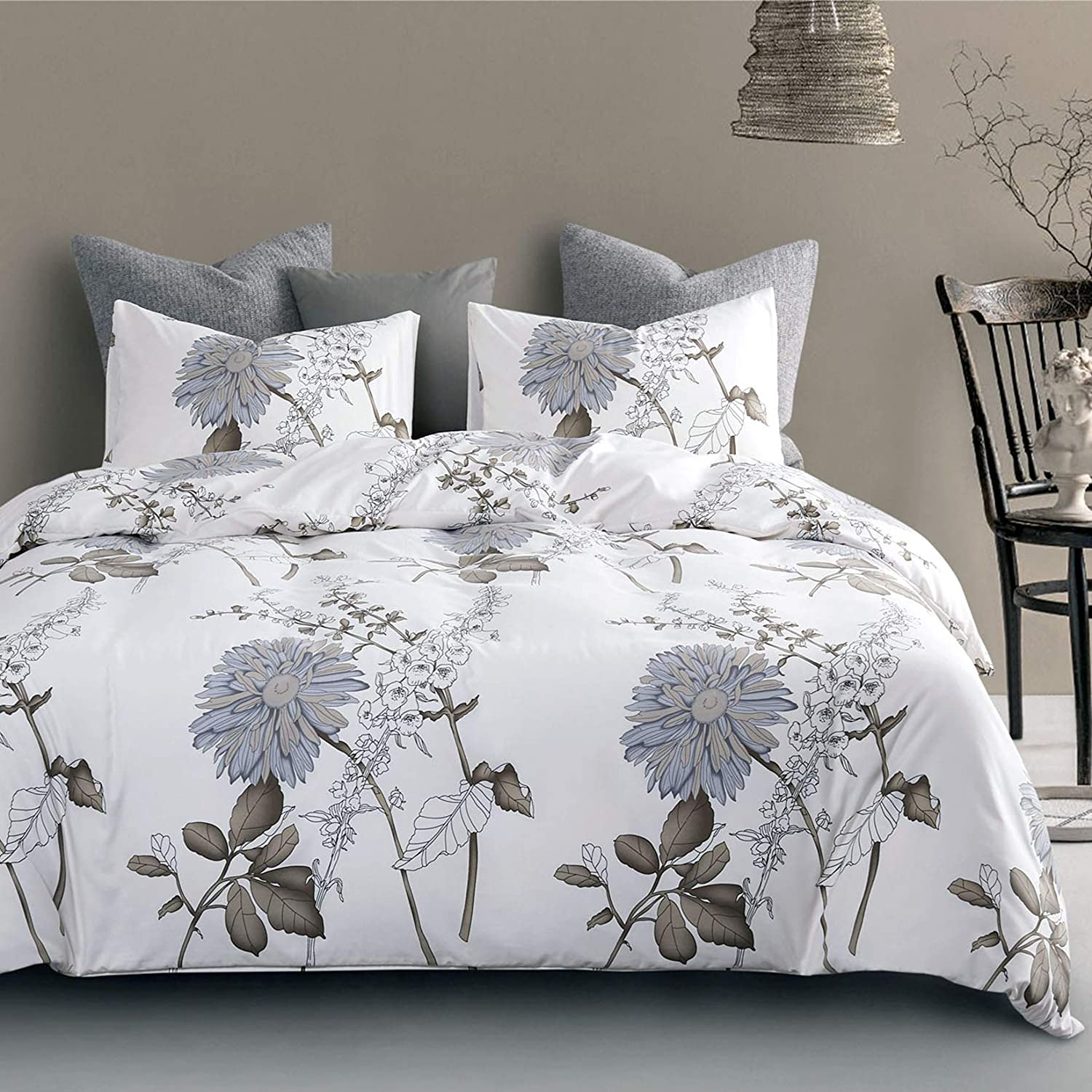 Wake In Cloud - Floral Comforter Set, Botanical Flowers Pattern Printed, Soft Microfiber Bedding