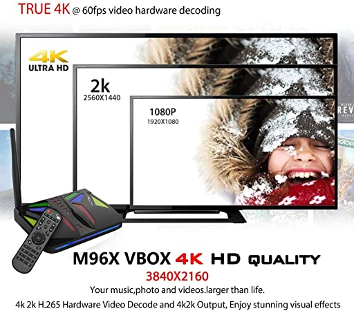 RBSCH M96X VBOX Amlogic S905X Quad Core 64bit 2GB RAM 16GB eMMC Flash Support WiFi Bluetooth LAN HDMI DLNA 1080P with LED Google Smart Media Player: Amazon.es: Electrónica