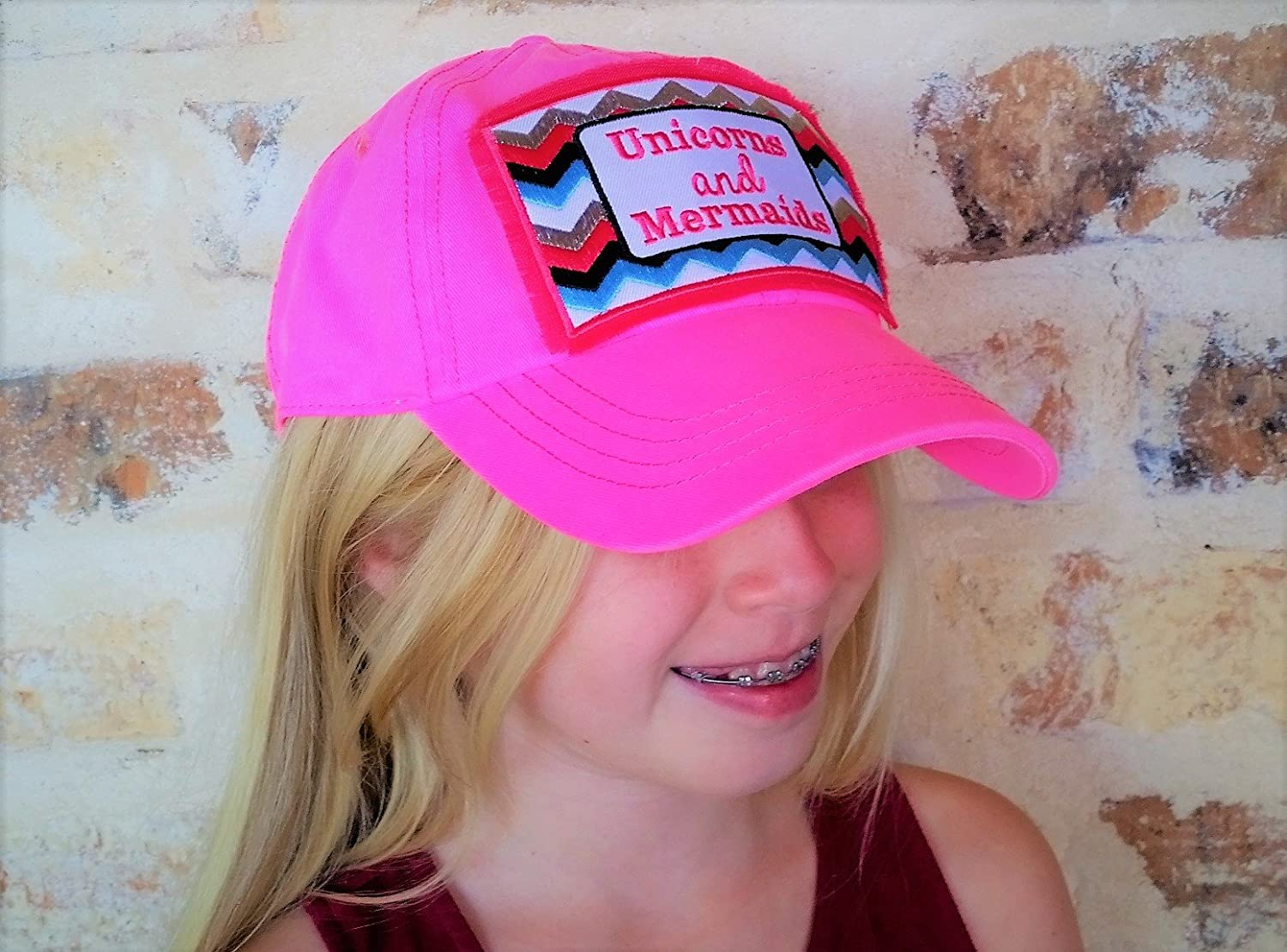 Loaded Lids Girls Unicorns and Mermaids Embroidered Patch Baseball Cap