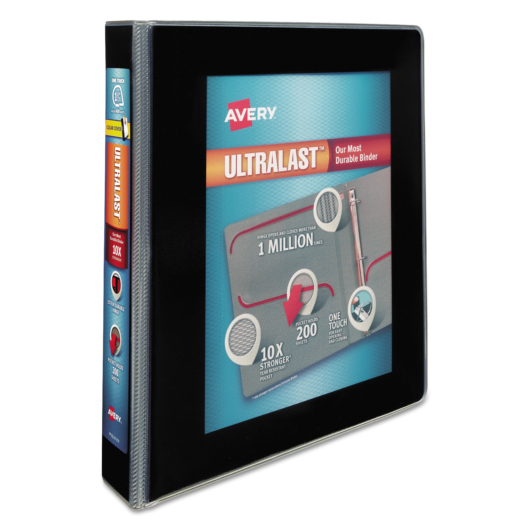 Avery Ultralast Binder with 1-1/2'' One Touch Slant Rings, Black (79711)