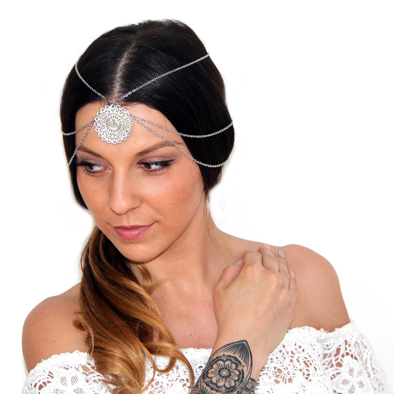 Vintage bandeau cheveux Bijoux pour la tête avec amulette / festival ruban cheveux en optique d'argent DesiDo® - 4260ZNNHN
