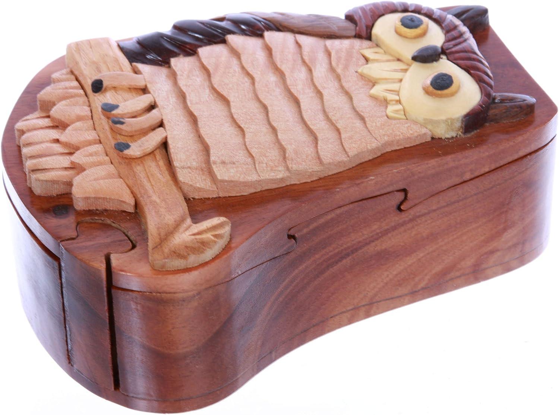 Hecho a mano de madera Búho/Pájaro Forma secreto joyas caja de ...