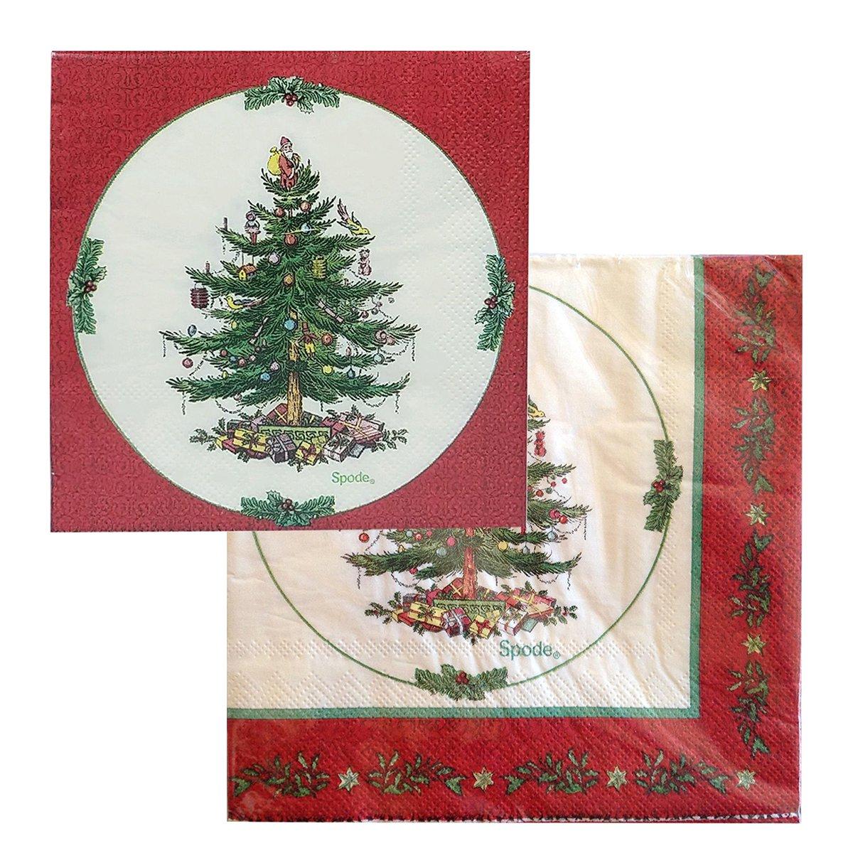 SpodeクリスマスツリーLuncheon &カクテルナプキンセット、80のセット   B078RX6PYG