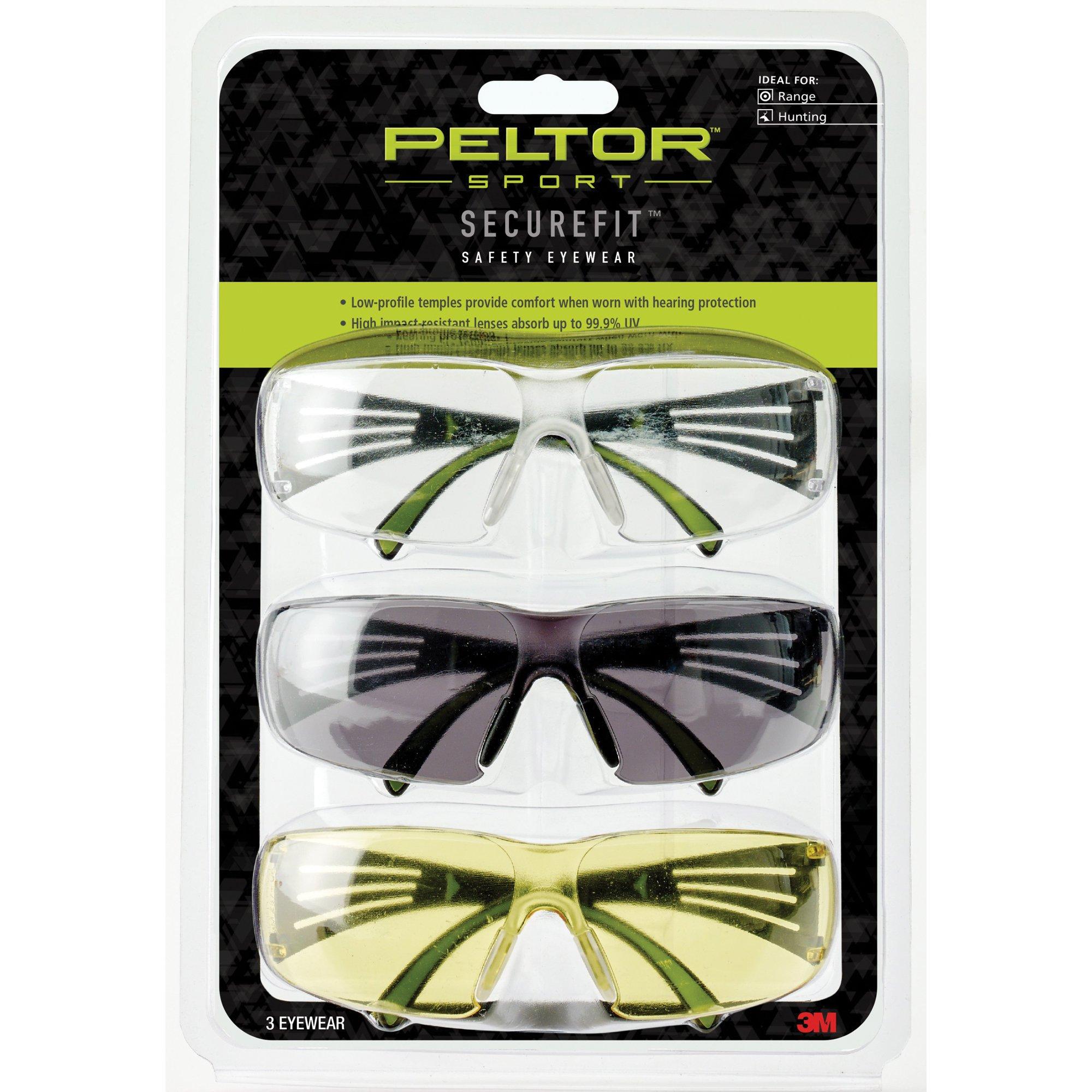 Peltor Sport SecureFit 400 Glasses, 3 Pack: Clear + Amber + Gray Lenses, Anti Fog by 3M