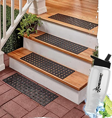 Gift Included  Traction Control Porch Or Patio Stairway Basket Weave  Braided Set Of 4 Rubber