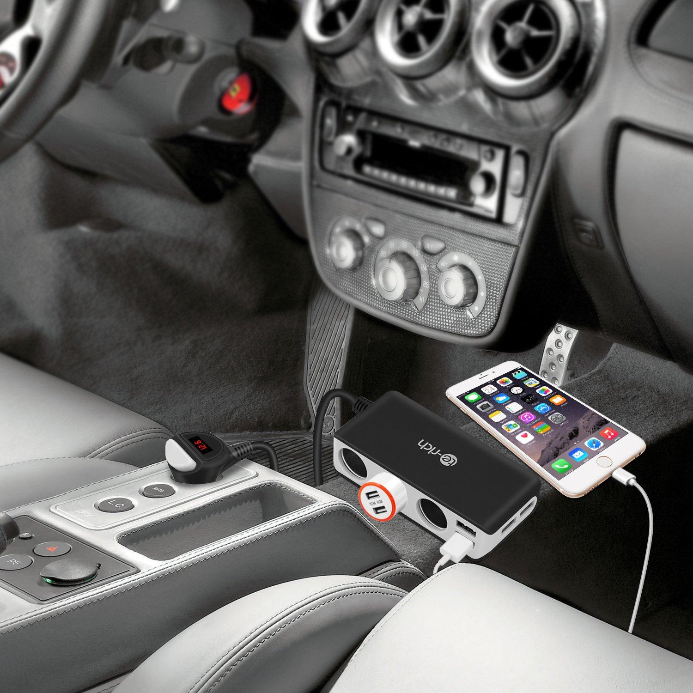 4 USB Ports 3-Buchsen KFZ Zigarettenanz/ünder Verteiler Auto Ladeger/ät Auto Adapter iPad Autoadapter schnelladen f/ür iPhone GPS Navi 12V//24V DC Samsung Galaxy Handy LED Anzeige