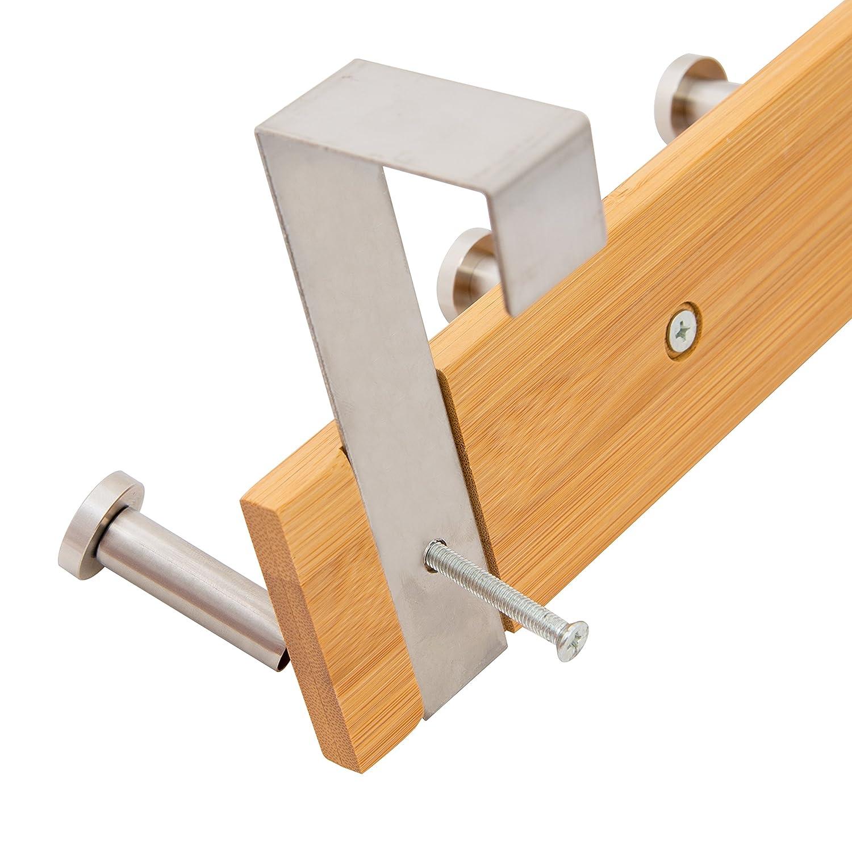 BuirStory Hanging Tree Bamboo Stainless Steel Over Door Hook Rack Door Hanger 5 Hook OHBL011