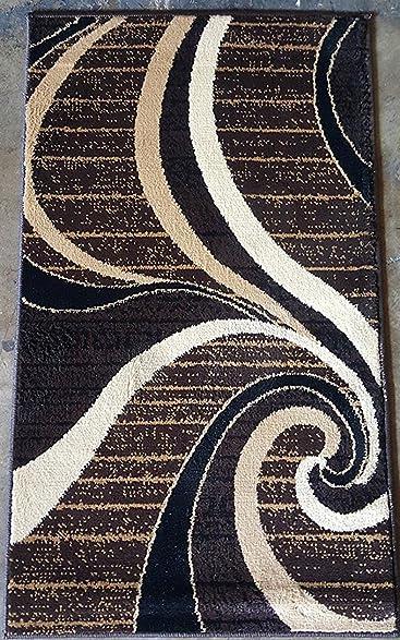 Bellagio Modern Door Mat Area Rug Dark Brown 256,000 Point Design 344 2 Feet X 3 Feet 4 Inch