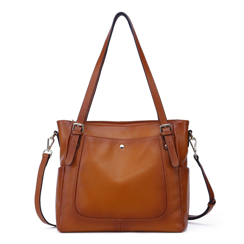 Yafeige Women's Handbag Vintage Soft Genuine Leather Shoulder Tote Top-handle Bag Cross-Body Bags Satchel Purse(Sorrel)