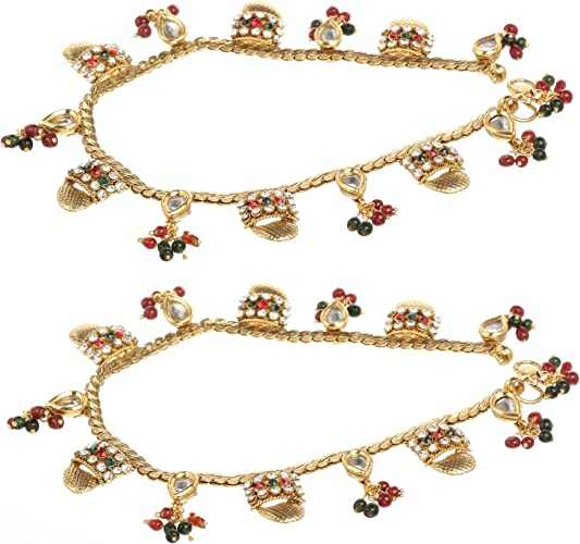 2 Pieces for Women Efulgenz Fashion Jewelry Indian Bollywood 14 K Gold Plated Cystal Beaded Multicolor Bracelets Bangle Set