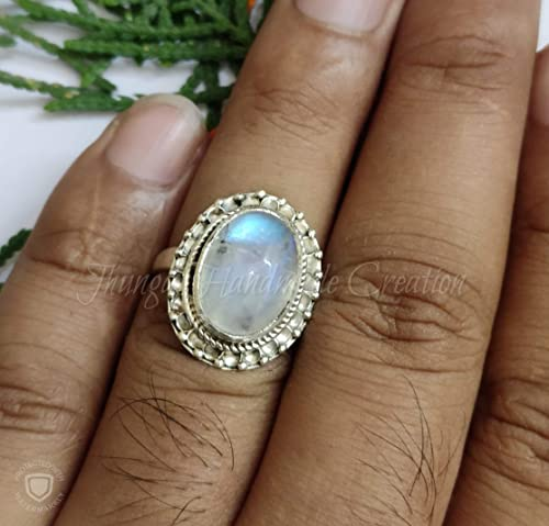 June Birthstone Dainty Ring Gemstone Ring Moonstone Ring Gemstone Jewelry Handcraft Ring Natural Moonstone Sterling Silver Ring