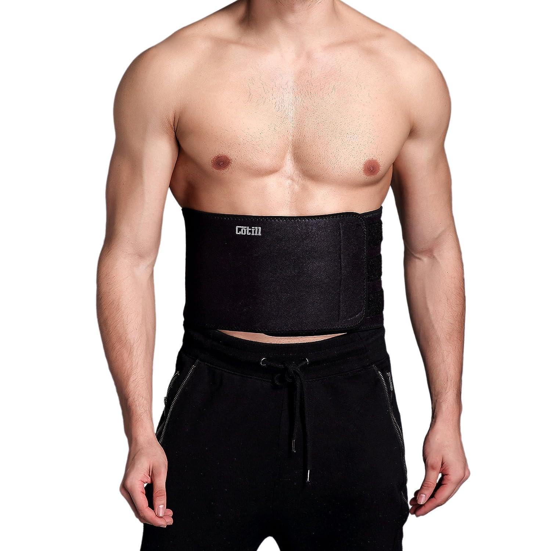 e2f5255dbc Cotill Waist Trimmer Ab Belt for Men Women - 3 Adjustable Closure Waist  Trainer - Stomach Wrap Slimming Sauna Weight Loss Belts and Lower Back  Lumbar ...