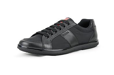 Prada Men's Nylon with Plume Calf Leather Trainer Sneaker, Black (Nero)  4E2845 (
