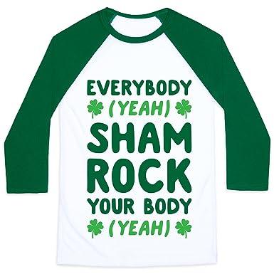 a35d6d5d3bf4 LookHUMAN Everybody Shamrock Your Body White/Dark Green 2X Mens/Unisex  Baseball Tee