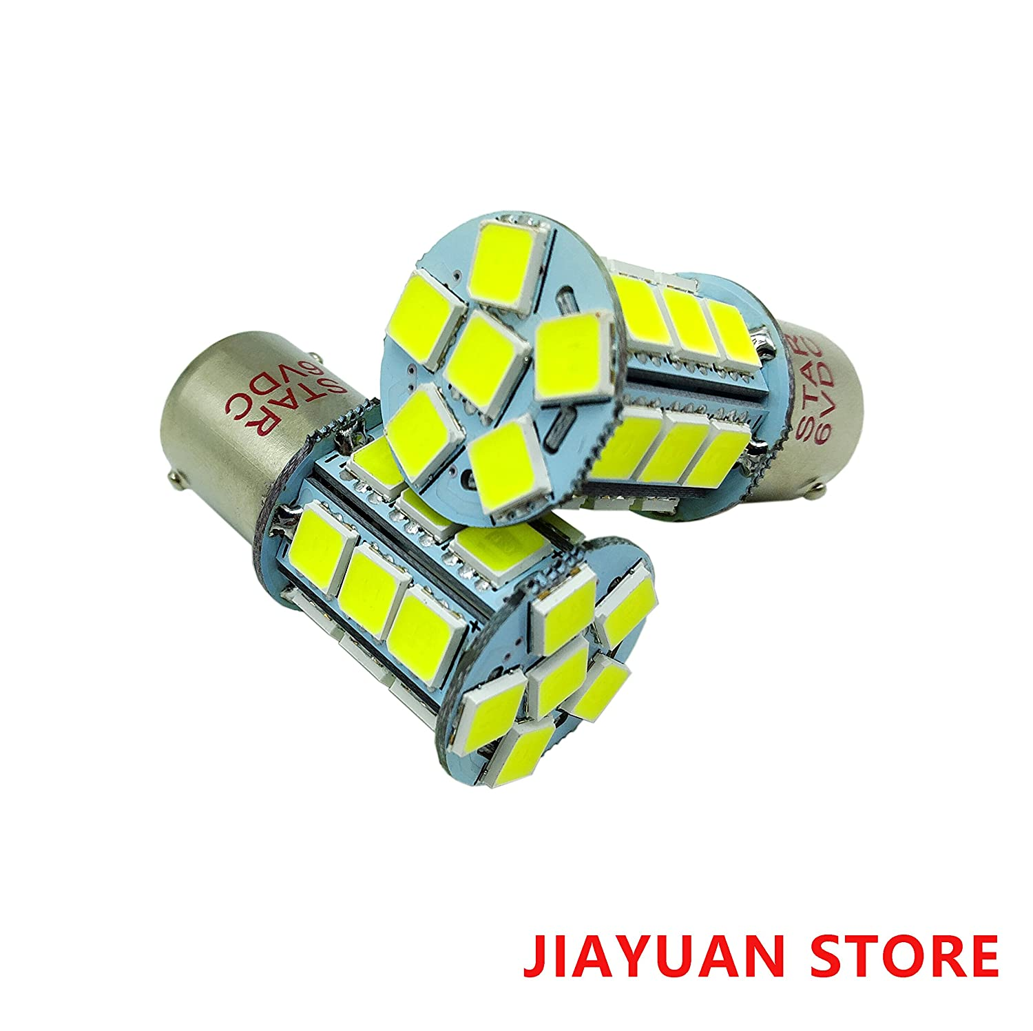 2 × 6V BA15S 1156 1141 1003 Led Light bulb Use for Backup Reverse Brake Tail Interior RV Camper Light, Super White 24SMD LEDs JIAYUAN BA15S-6V